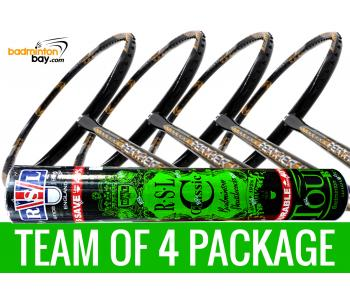 Team Package: 1 Tube RSL Classic Shuttlecocks + 4 Rackets - Apacs Feather Weight X SPECIAL (XS) Black Gold Badminton Racket