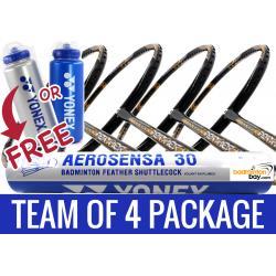 Team Package Free Yonex Bottle: 1 Tube Yonex AS30 Shuttlecocks + 4 Rackets - Apacs Feather Weight X SPECIAL (XS) Black Gold Badminton Racket