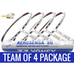 Team Package: 1 Tube Yonex AS30 Shuttlecocks + 4 Rackets - Apacs Nano 900 Power (White) Badminton Racket