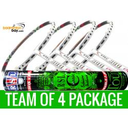 Team Package: 1 Tube RSL Classic Shuttlecocks + 4 Rackets - Apacs Nano 900 Power (White) Badminton Racket