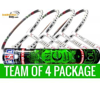 Team Package: 1 Tube RSL Classic Shuttlecocks + 4 Rackets - Apacs Nano 900 Power (White) Badminton Racket