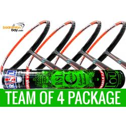 Team Package: 1 Tube RSL Classic Shuttlecocks + 4 Rackets - Flex Power Nano Tec Z Speed Badminton Racket