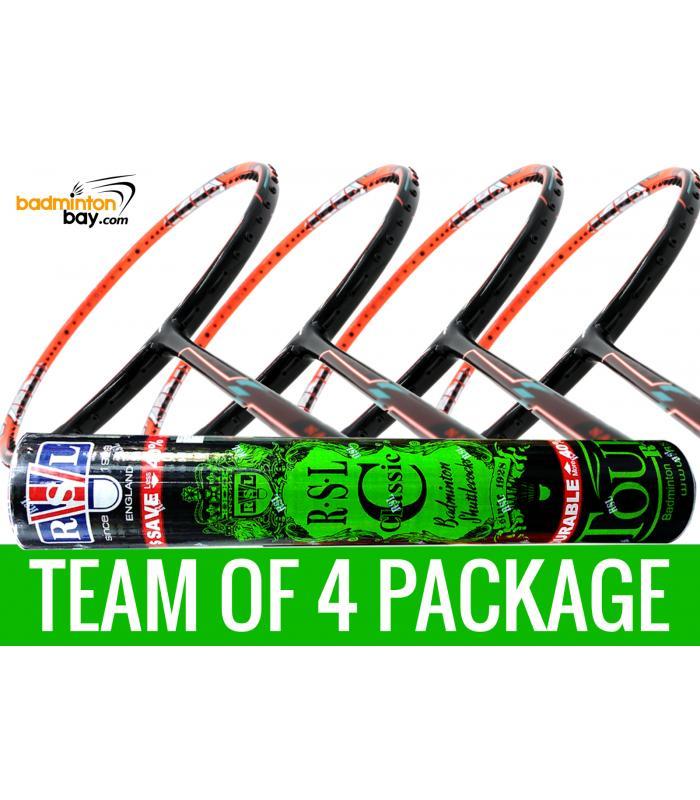 Team Package: 1 Tube RSL Classic Shuttlecocks + 4 Rackets - Flex Power Nano Tec Z Speed Badminton Racket