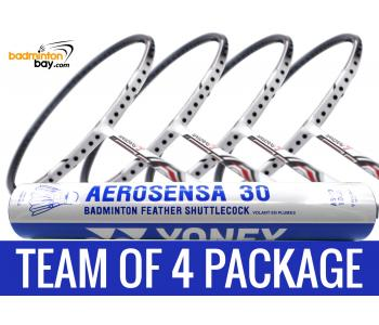 Team Package: 1 Tube Yonex AS30 Shuttlecocks + 4 Rackets - Yonex Nanoray 7 Cool White (4U-G5) Badminton Racket