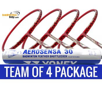 Team Package: 1 Tube Yonex AS30 Shuttlecocks + 4 Rackets - Yonex Nanoray 7 Deep Red (4U-G5) Badminton Racket