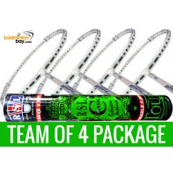 Team Package: 1 Tube RSL Classic Shuttlecocks + 4 Rackets - Abroz Shark Great White Badminton Racket (6U)