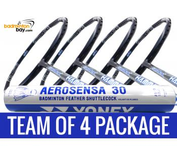 Team Package: 1 Tube Yonex AS30 Shuttlecocks + 4 Rackets - Abroz Shark Hammerhead Badminton Racket (6U)