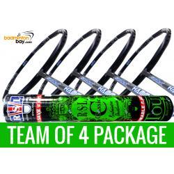 Team Package: 1 Tube RSL Classic Shuttlecocks + 4 Rackets - Abroz Shark Hammerhead Badminton Racket (6U)