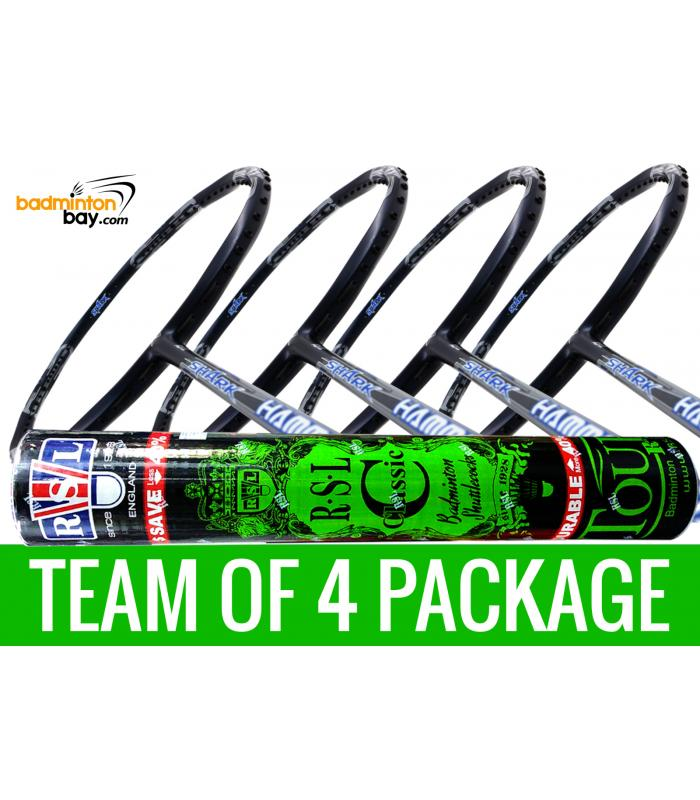 Team Package: 1 Tube RSL Classic Shuttlecocks + 4 Rackets - Abroz Shark Hammerhead Badminton Racket (6U)