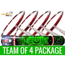 Team Package: 1 Tube RSL Classic Shuttlecockss + 4 Rackets - Apacs Feather Weight X II Red Gold Badminton Racket