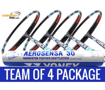 Team Package: 1 Tube Yonex AS30 Shuttlecocks + 4 Rackets - Apacs Force II Max 4U Compact Frame Badminton Racket