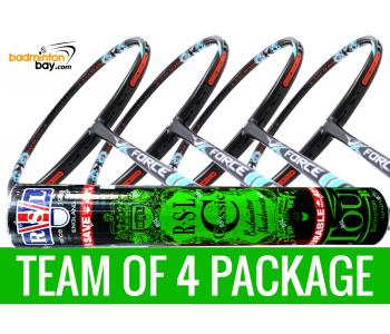 Team Package: 1 Tube RSL Classic Shuttlecocks + 4 Rackets - Apacs Force II Max 4U Compact Frame Badminton Racket