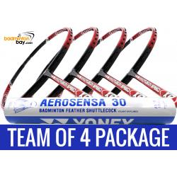 Team Package: 1 Tube Yonex AS30 Shuttlecocks + 4 Rackets - Apacs Nano Fusion Speed XR Badminton Racket