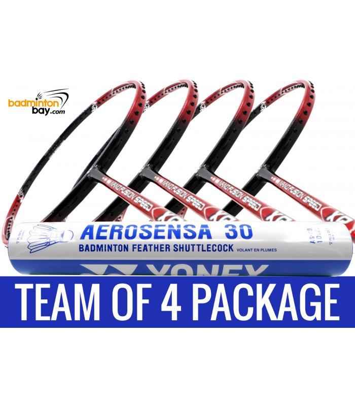Team Package: 1 Tube Yonex AS30 Shuttlecocks + 4 Rackets - Apacs Nano Fusion Speed XR Badminton Racket