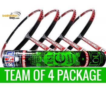 Team Package: 1 Tube RSL Classic Shuttlecocks + 4 Rackets - Apacs Nano Fusion Speed XR Badminton Racket