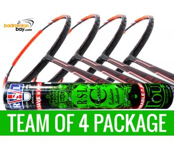 Team Package: 1 Tube RSL Classic Shuttlecocks + 4 Rackets - Apacs Zig Zag Speed Orange (Prime Version) Compact Frame Badminton Racket