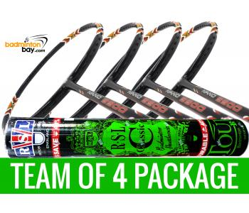 Team Package: 1 Tube RSL Classic Shuttlecocks + 4 Rackets - Apacs Nano 9900 Badminton Racket