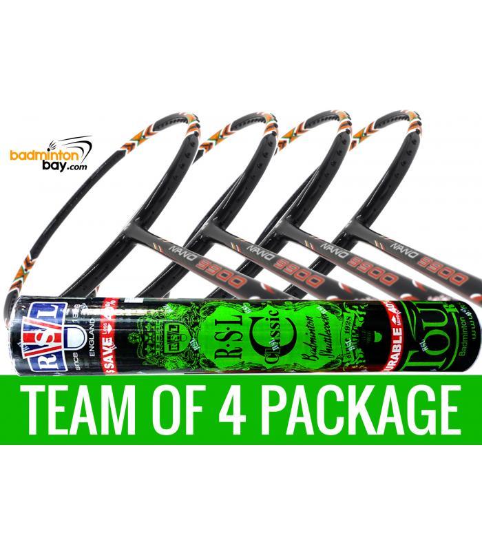 Team Package: 1 Tube RSL Classic Shuttlecocks + 4 Rackets - Apacs Nano 9900 Badminton Racket