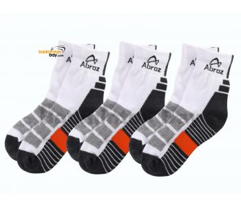 Abroz Badminton Sports Socks SC120 Dark Grey Orange (3 pairs)