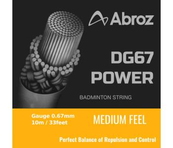 10 pieces Abroz DG67 Power 10-meter Badminton String (0.67mm) In White Color (Pack of 10 strings)