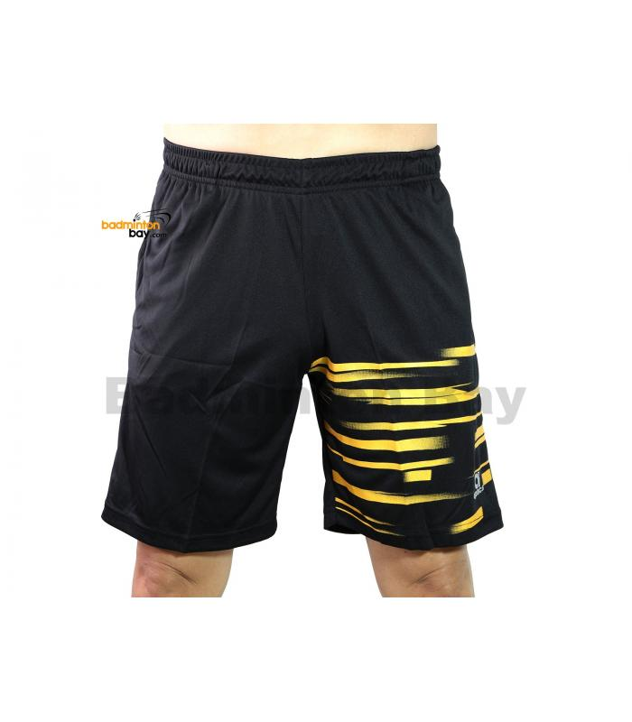 Apacs Dri-Fast Quick Dry Sport Shorts Pants BSH105 Black Gold With 2 Pockets
