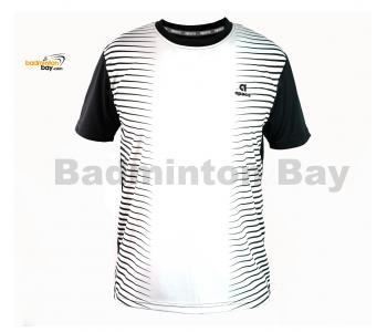 Apacs Dri-Fast AP-3258 White Black T-Shirt Quick Dry Sports Jersey