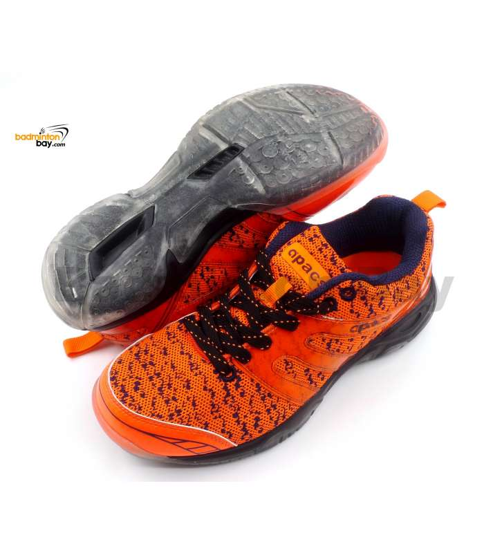 Apacs Cushion Power 072 Orange Badminton Shoes With Transparent Outsole and Improved Cushioning