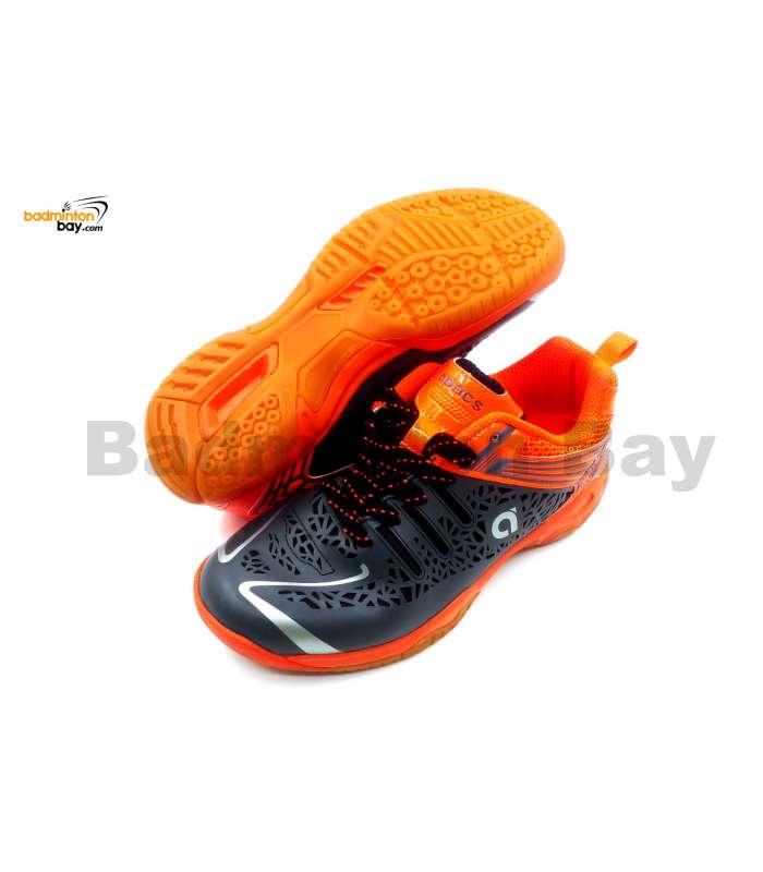 Apacs Cushion Power 076 Grey Orange Badminton Shoes With Improved Cushioning