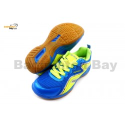 Apacs Cushion Power 077 Blue Neon Green Badminton Shoes With Improved Cushioning