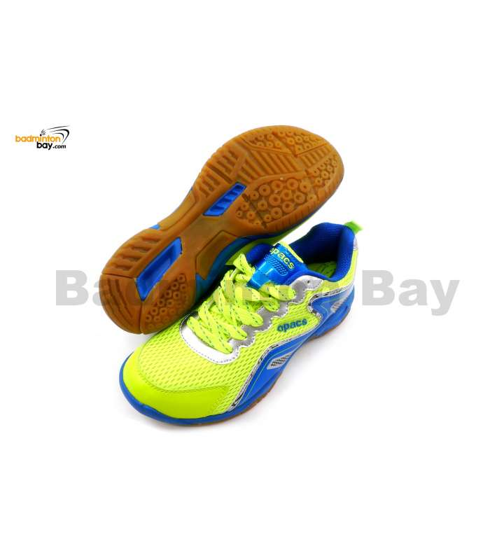Apacs Cushion Power 077 Neon Green Blue Badminton Shoes With Improved Cushioning