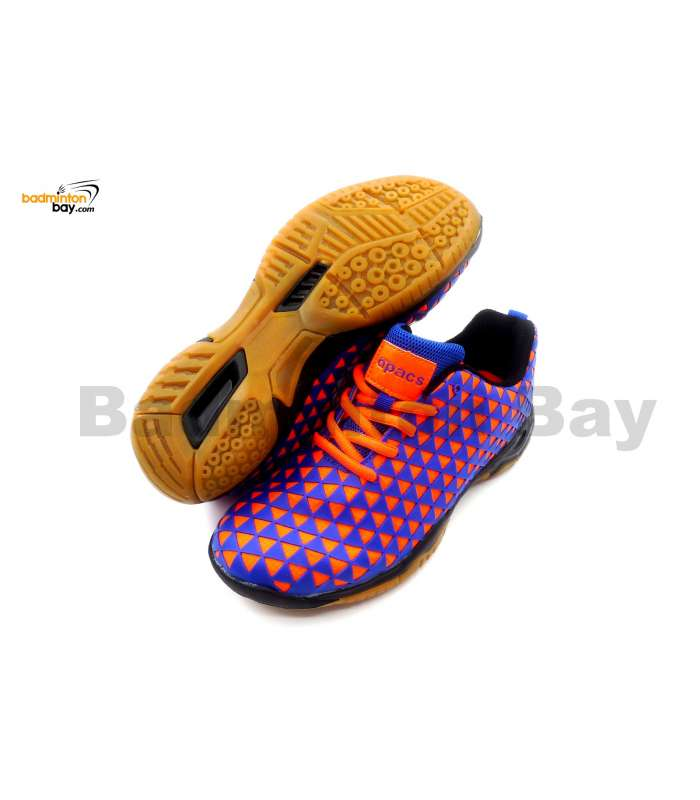 Apacs Cushion Power 078 Orange Blue Badminton Shoes With Improved Cushioning
