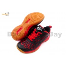Apacs Cushion Power 079 Black Red Badminton Shoes With Improved Cushioning