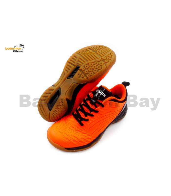Apacs Cushion Power 079 Neon Orange Black Badminton Shoes With Improved Cushioning