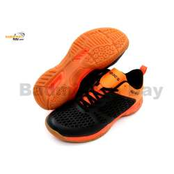 Apacs Cushion Power 080 Black Orange Badminton Shoes With Improved Cushioning
