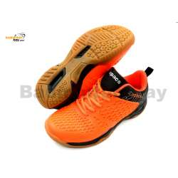 Apacs Cushion Power 080 Orange Black Badminton Shoes With Improved Cushioning