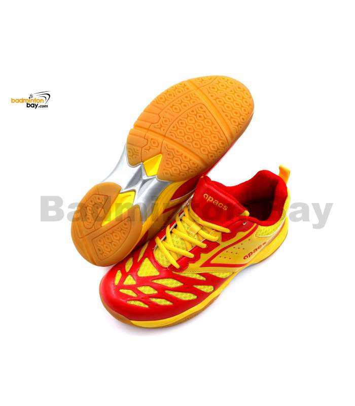 Apacs Cushion Power 081 Red Yellow Badminton Shoes With Improved Cushioning