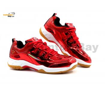 Limited Edition Apacs Cushion Power SP-600 Chrome Red Badminton Shoes With Improved Cushioning