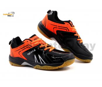 Limited Edition Apacs Cushion Power SP-605 Shiny Black Orange Badminton Shoes With Improved Cushioning