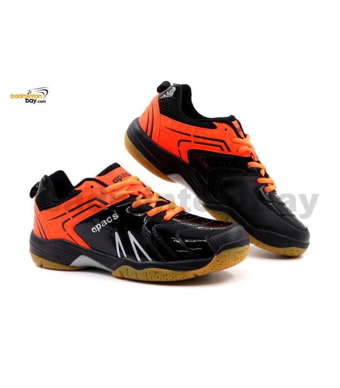 Limited Edition Apacs Cushion Power SP-605 Shiny Black Orange Badminton Shoes With Improved Cushioning