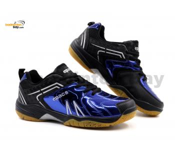 Limited Edition Apacs Cushion Power SP-605 Chrome Blue Black Badminton Shoes With Improved Cushioning