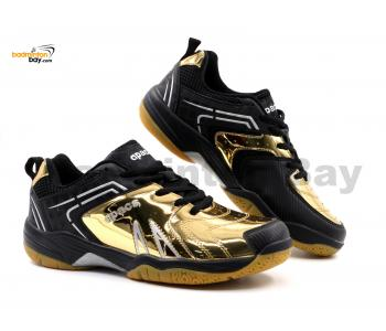 Limited Edition Apacs Cushion Power SP-605 Chrome Gold Black Badminton Shoes With Improved Cushioning