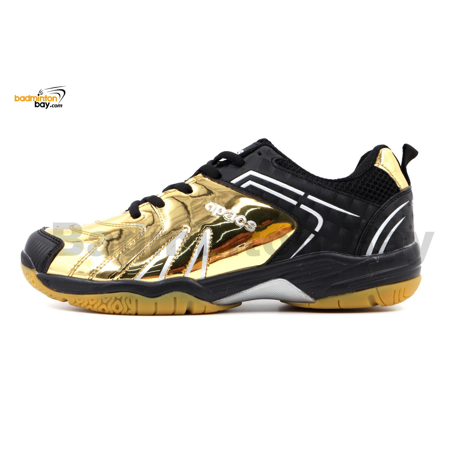Limited Edition Apacs Cushion Power SP 605 Chrome Gold Black Badminton Shoes