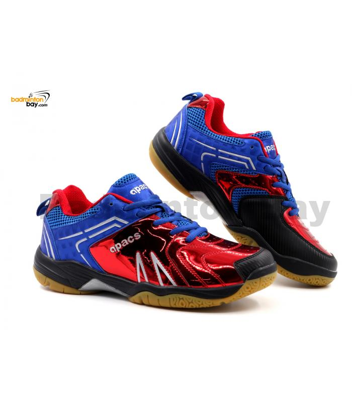 Limited Edition Apacs Cushion Power SP-605 Chrome Red Blue Badminton Shoes With Improved Cushioning