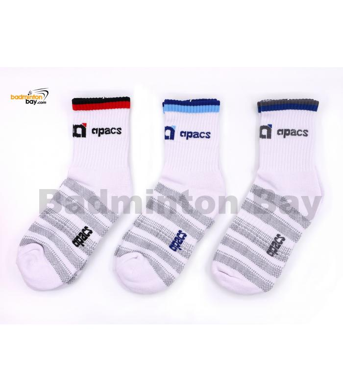 Apacs Badminton Sports Socks White With Stripes AP053iii (3 pairs)