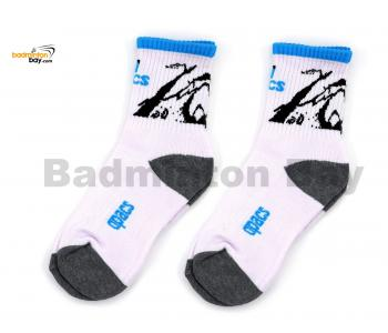 Apacs Badminton Sports Socks White Blue Rim With Graphics AP060iii (2 pairs)