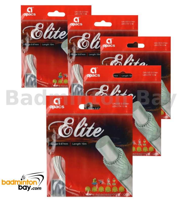 5 pieces Apacs Elite (0.67mm) Badminton String