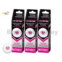 Butterfly 3-Star R40+ Plastic Table Tennis Ping Pong White Ball 40mm (9 Balls)