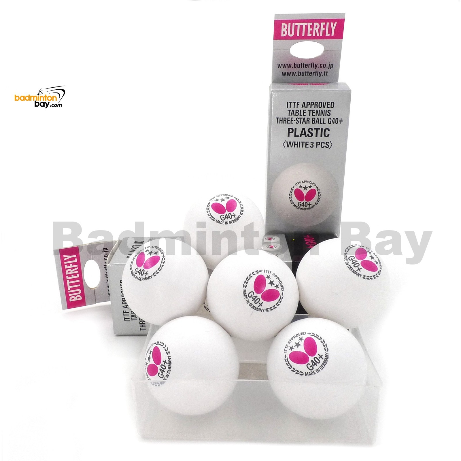Butterfly Table Tennis Balls Coloured Pack of 6