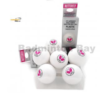 Butterfly 3-Star G40+ Made In Germany Plastic Table Tennis Ping Pong White Ball 40mm (6 Balls)