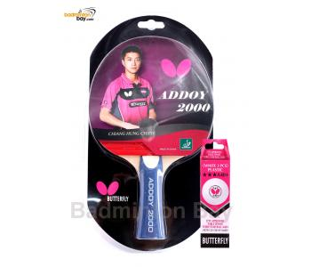 Butterfly Addoy 2000 FL Shakehand Table Tennis Racket Ping Pong Bat With A40 Balls